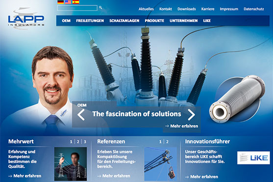 LAPP Insulators Website von OPUS Marketing