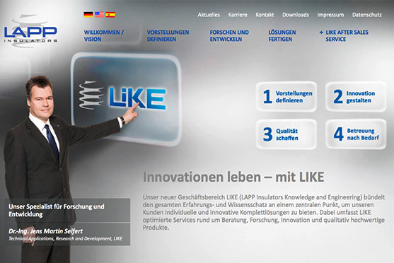LAPP LIKE Website von OPUS Marketing