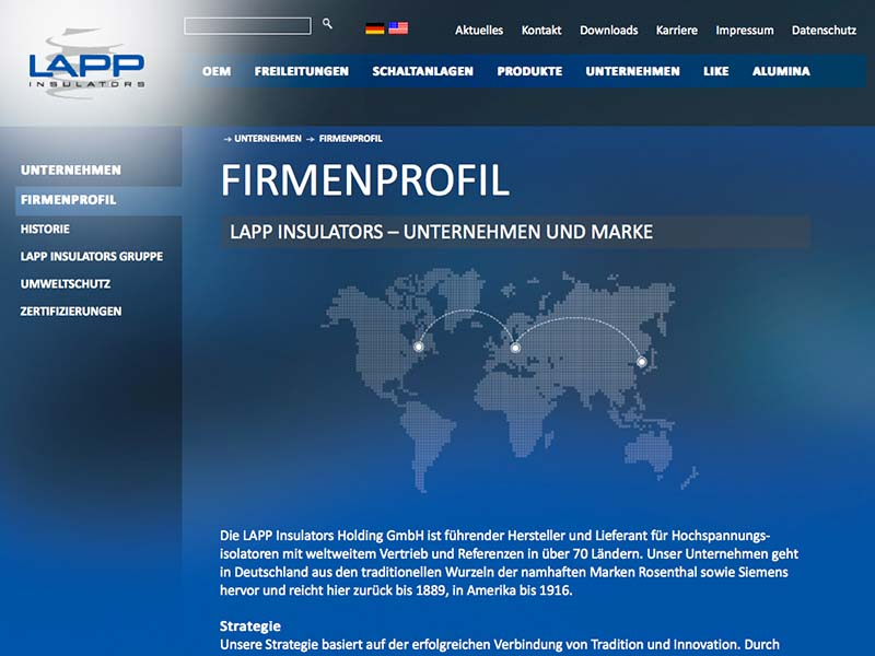 LAPP Insulators Website Firmenprofil