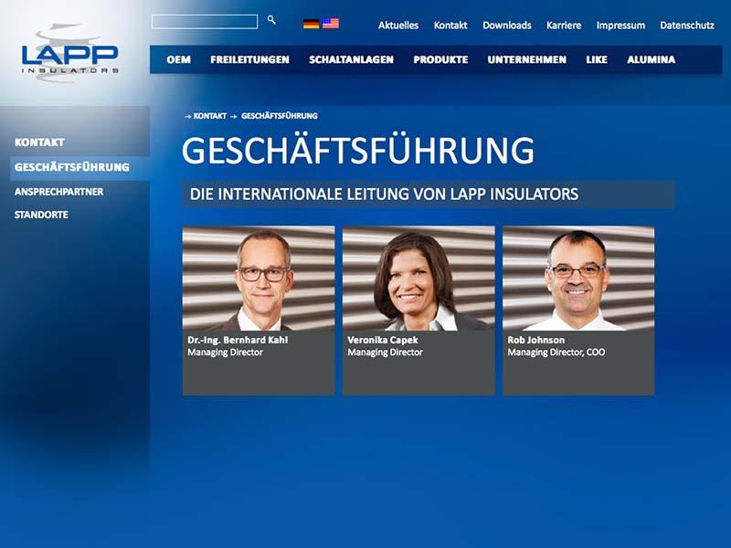 LAPP Insulators Website Geschäftsführung