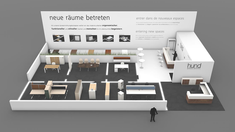 OPUS Marketing / Leistungen / hund Möbelwerke / Messekonzept Visualisierung