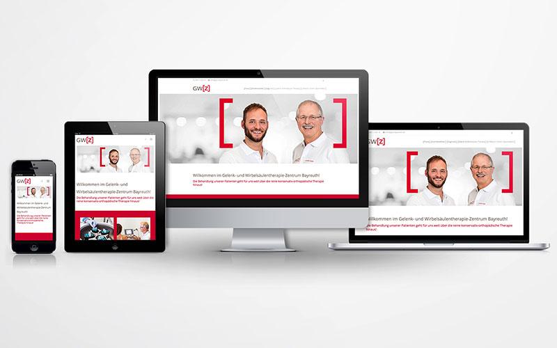 Ansichten der neuen Website der Praxis GWZ Bayreuth