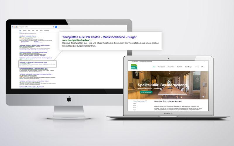 """Die Google-Ergebnisseite für """"tischplatten kaufen"""" (links) und die Startseite der Website des Shops (rechts)"""