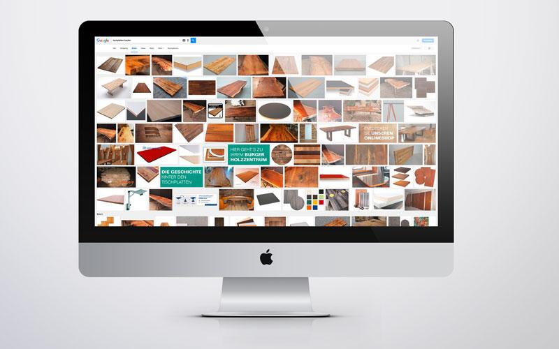 Auch in Googles Bildersuche belegen die auf tischplatten.kaufen verwendeten Bilder aktuell vordere Plätze.