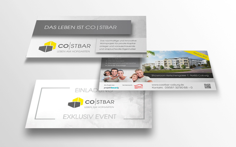 Immobilienmarketing für das Projekt Costbar – Flyer