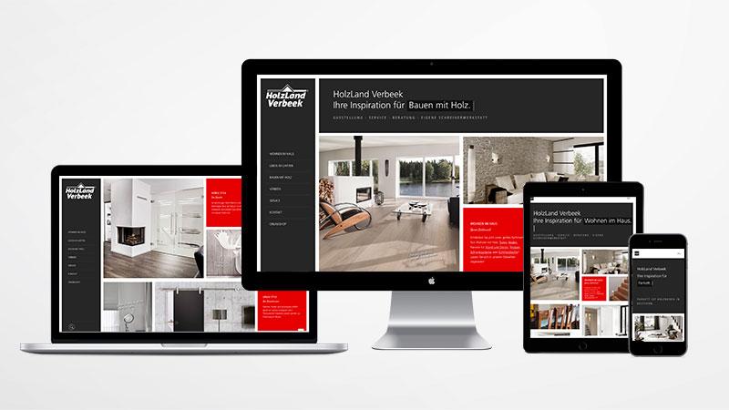 Responsive Website für Holzland Verbeek dargestellt auf verschieden großen Devices