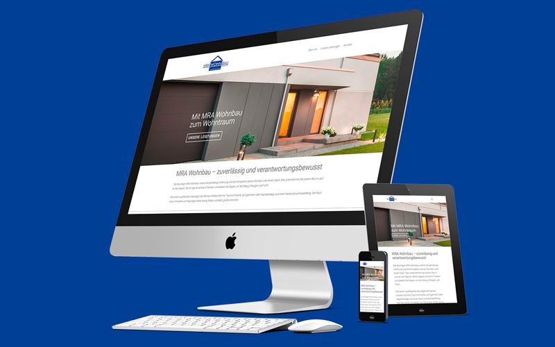 Website MRA Wohnbau auf Desktop, Tablet und Mobile