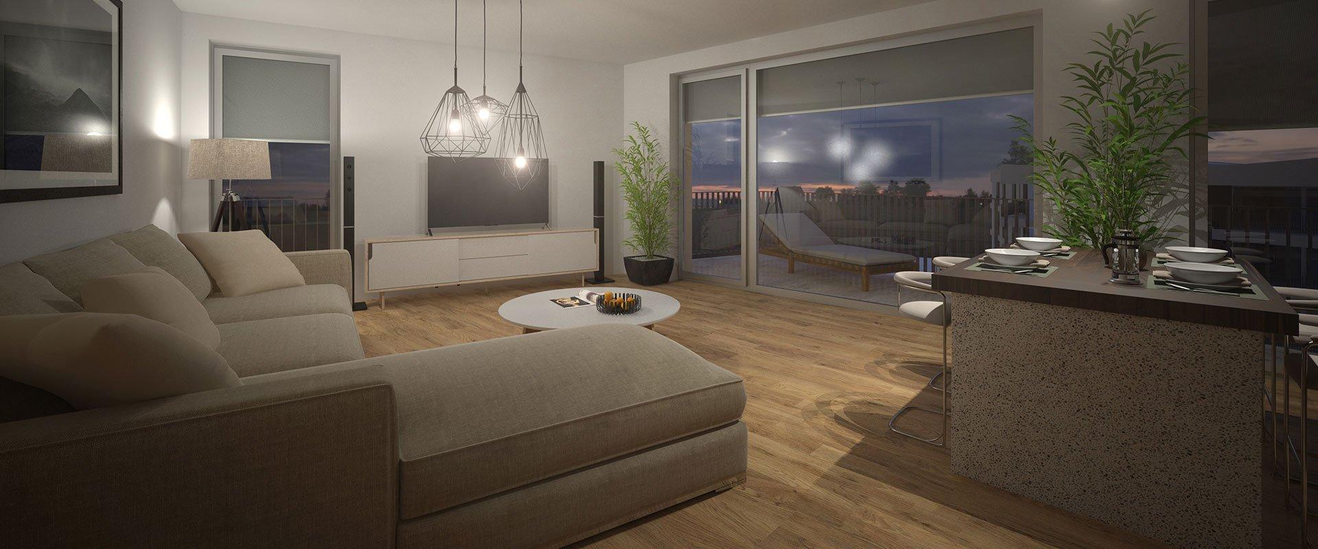 """WG """"EINHEIT"""" Visualisierung Wohnzimmer bei Nacht"""