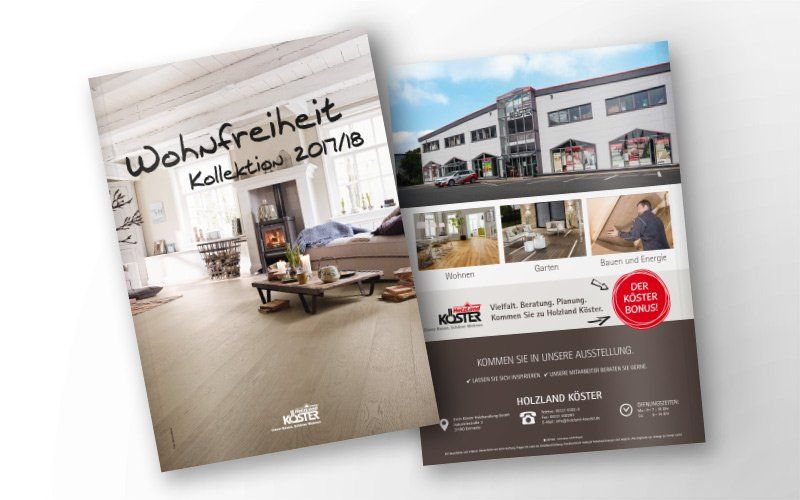 Vorder- und Rückseite Katalog HolzLand Köster