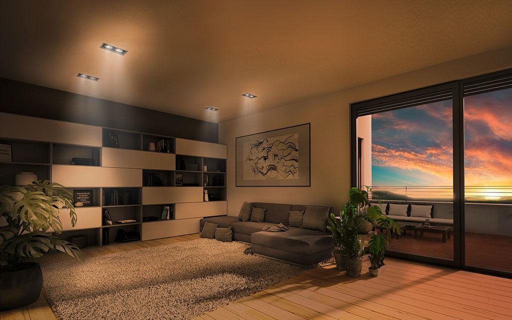 OPUS Marketing / Projekte / Panoramapark / Visualisierung Wohnzimmer Abend