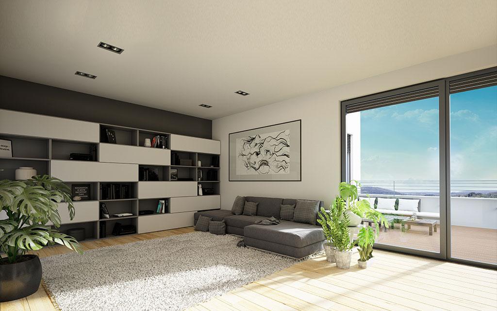 OPUS Marketing / Projekte / Panoramapark / Visualisierung Wohnzimmer Tag