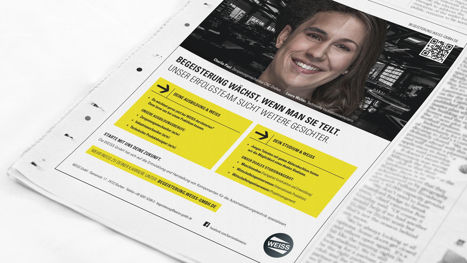 OPUS Marketing / Projekt / Karriere bei WEISS / Stellenanzeige