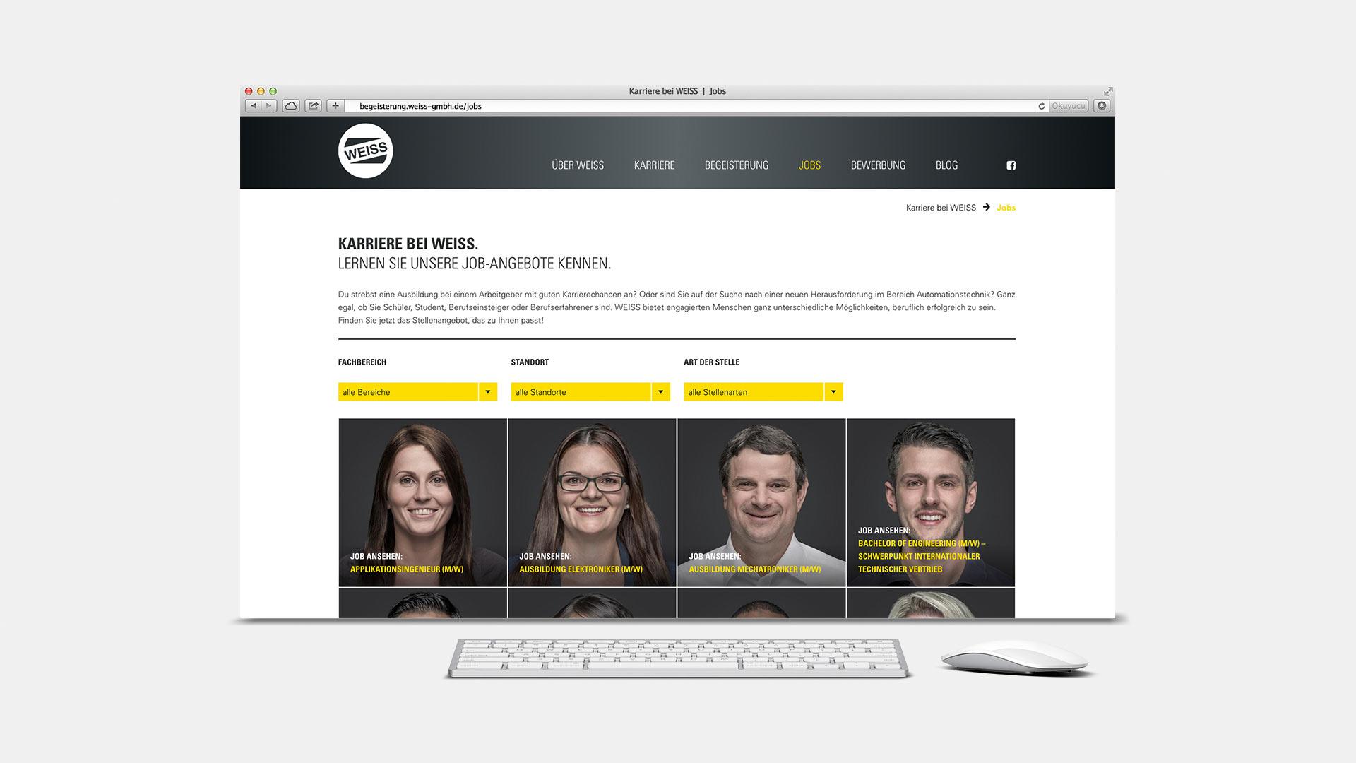 OPUS Marketing / Projekt / Karriere bei WEISS / Website Jobs