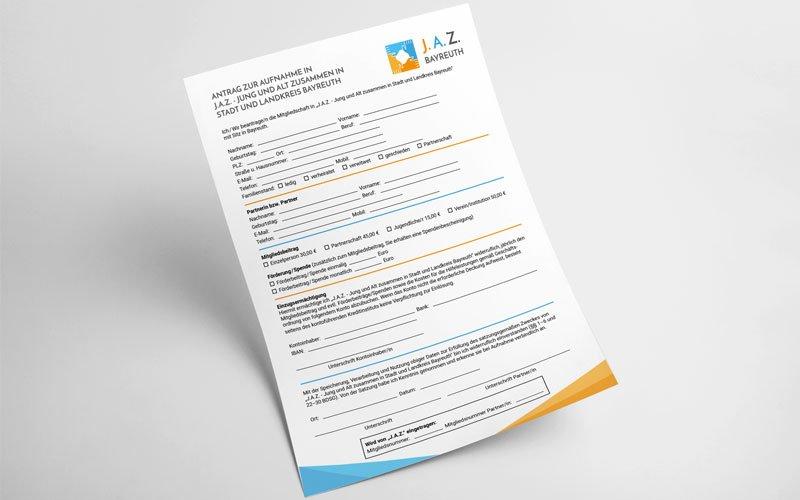 Der von Opus Marketing für J.A.Z Bayreuth gestaltete Mitgliedsantrag