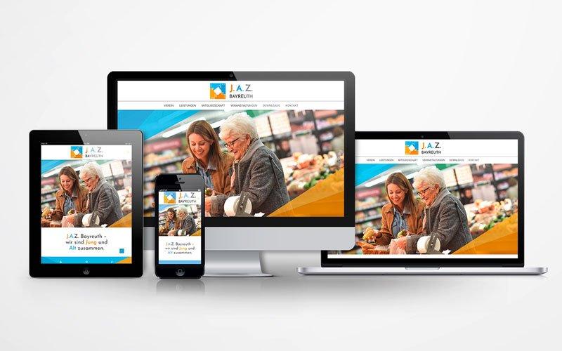 Die von Opus Marketing für J.A.Z Bayreuth gestaltete responsive Website
