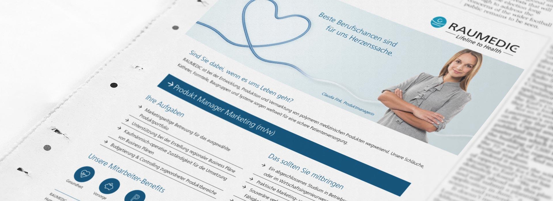 OPUS Marketing / Leistungen / Raumedic / Employer Branding / Stellenanzeige