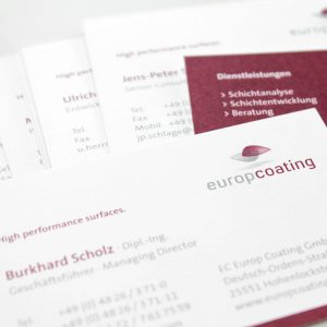 OPUS Marketing / Projekte / Europcoating / Visitenkarten