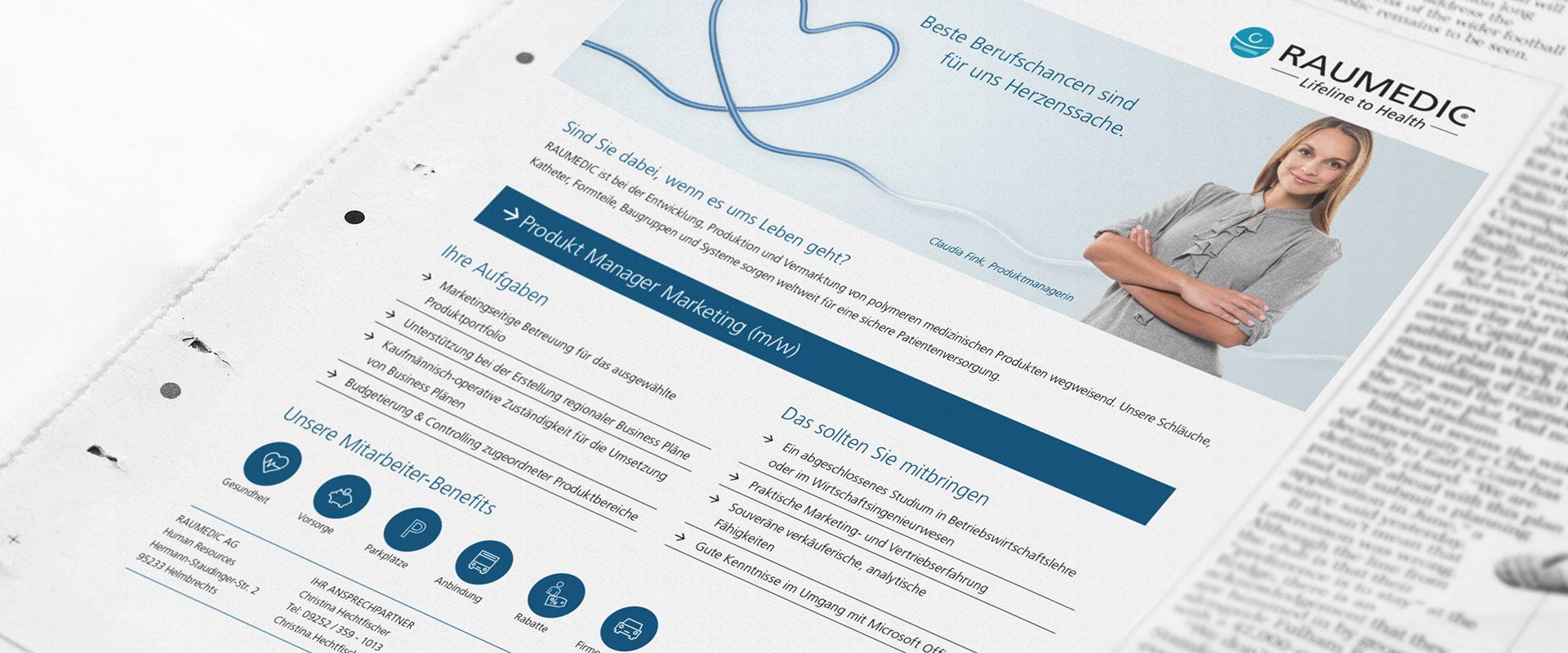 OPUS Marketing / Projekte / RAUMEDIC / Employer Branding / Stellenanzeige