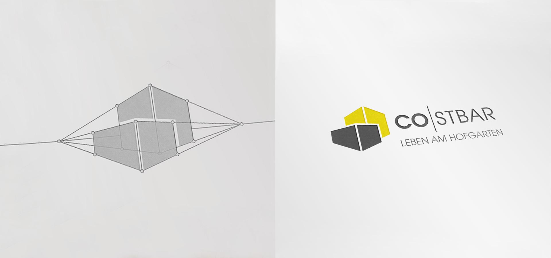 OPUS Marketing / Immobilienmarketing / Markenaufbau / Logo / Herleitung / Costbar Leben am Hofgarten