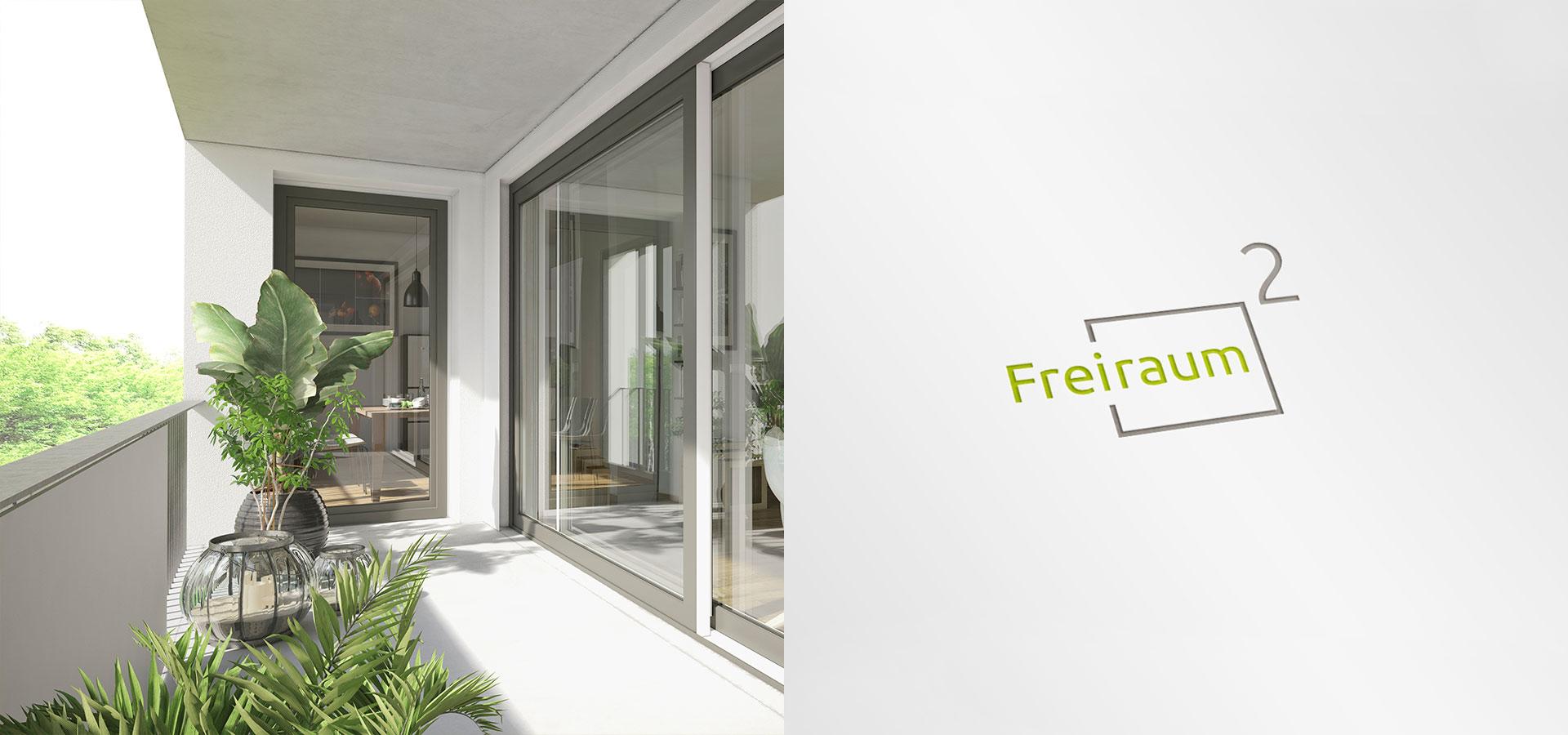 OPUS Marketing / Immobilienmarketing / Markenaufbau / Logo / Herleitung / Freiraum²