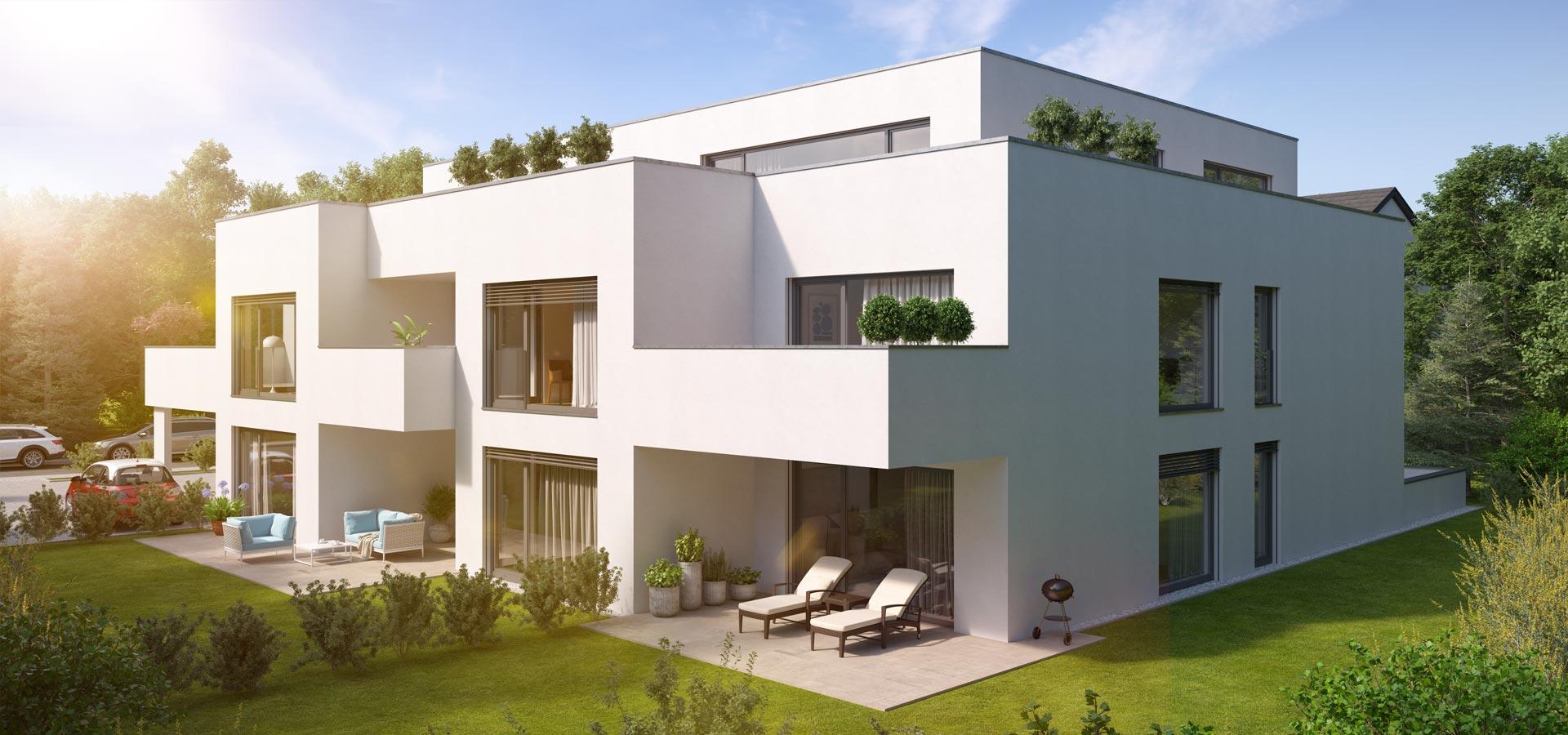 OPUS Marketing / Immobilienmarketing / Visualisierung, außen, Sonne