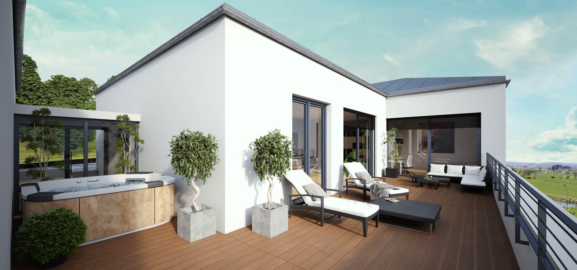 OPUS Marketing / Immobilienmarketing / Visualisierung / Dachterrasse