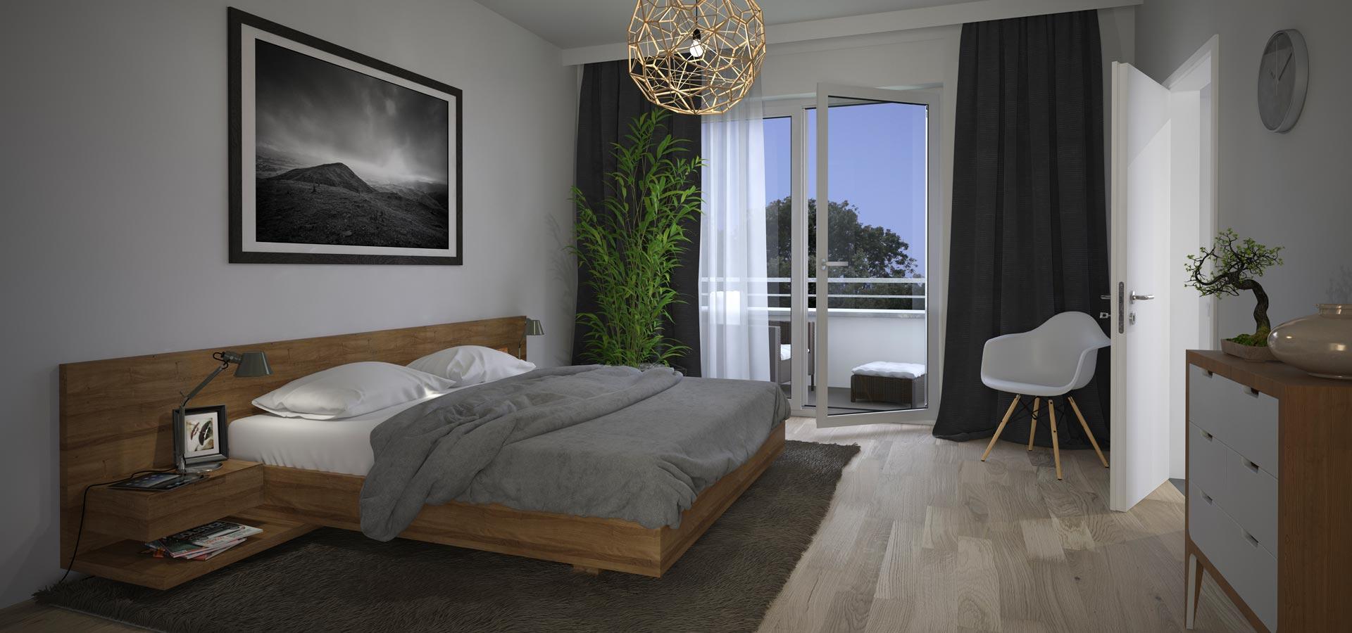 OPUS Marketing / Immobilienmarketing / Visualisierung / Schlafzimmer