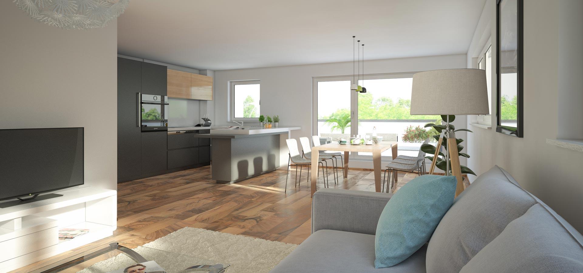 OPUS Marketing / Immobilienmarketing / Visualisierung / Wohnen, Essen, Kochen