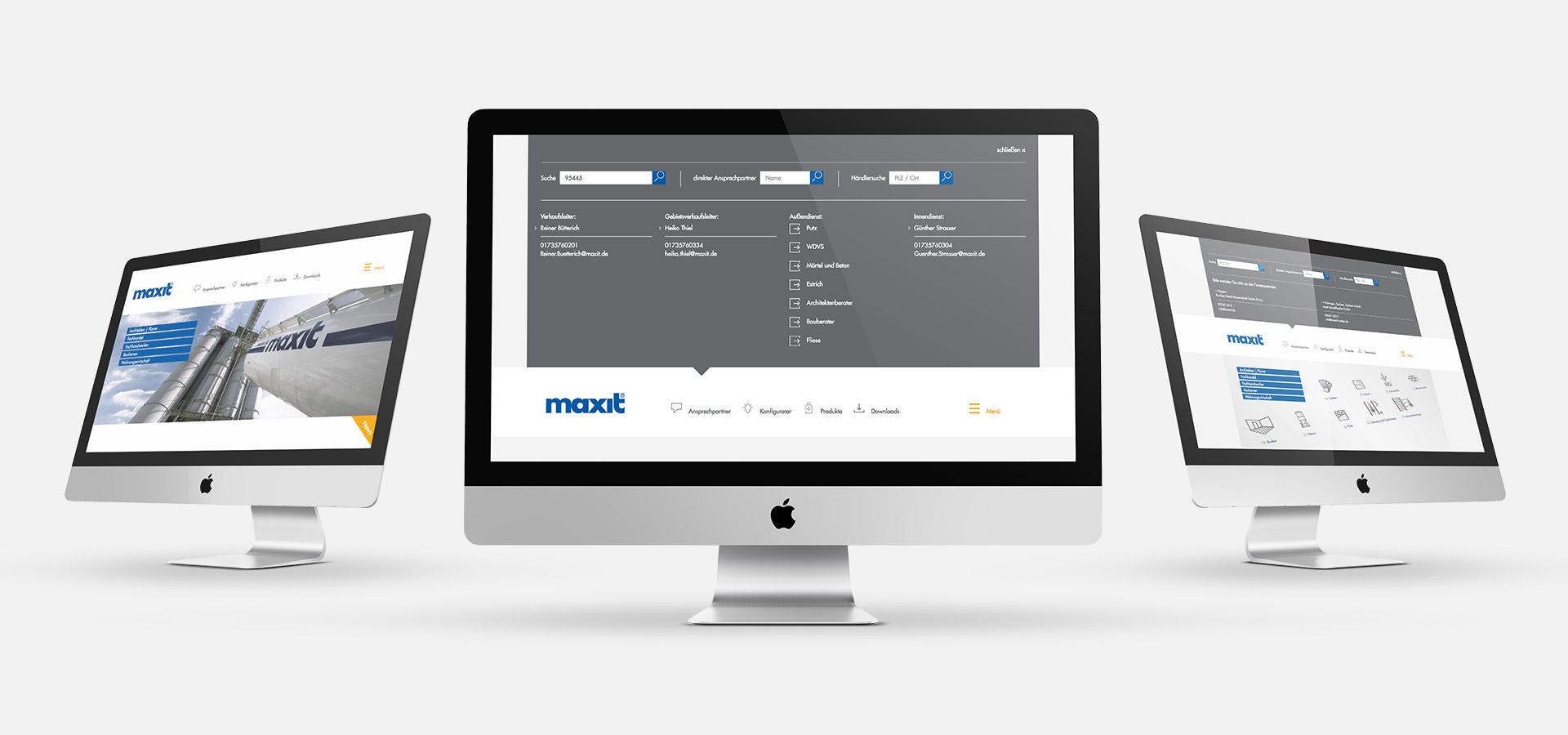 OPUS Marketing / Projekte / Maxit / Website / Ansprechpartnerfinder