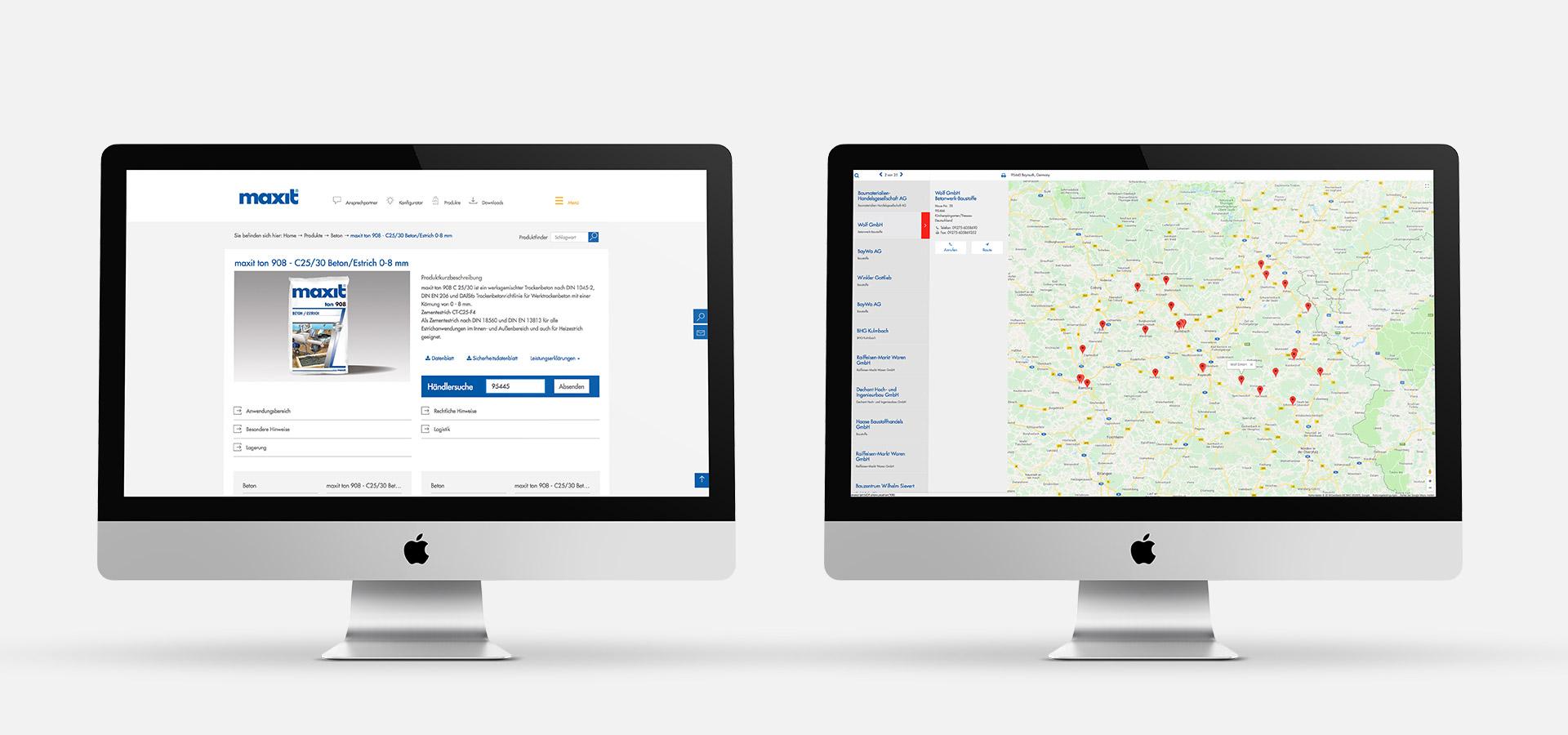 OPUS Marketing / Projekte / Maxit / Website / Händlersuche