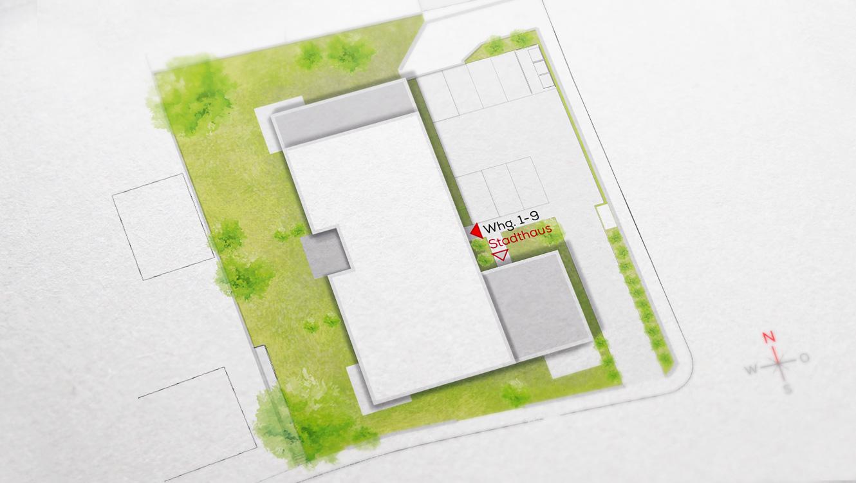 OPUS Marketing / Projekte / Frankenresidenz / Immobilien-Basics / Gebäude- und Freiflächenplan