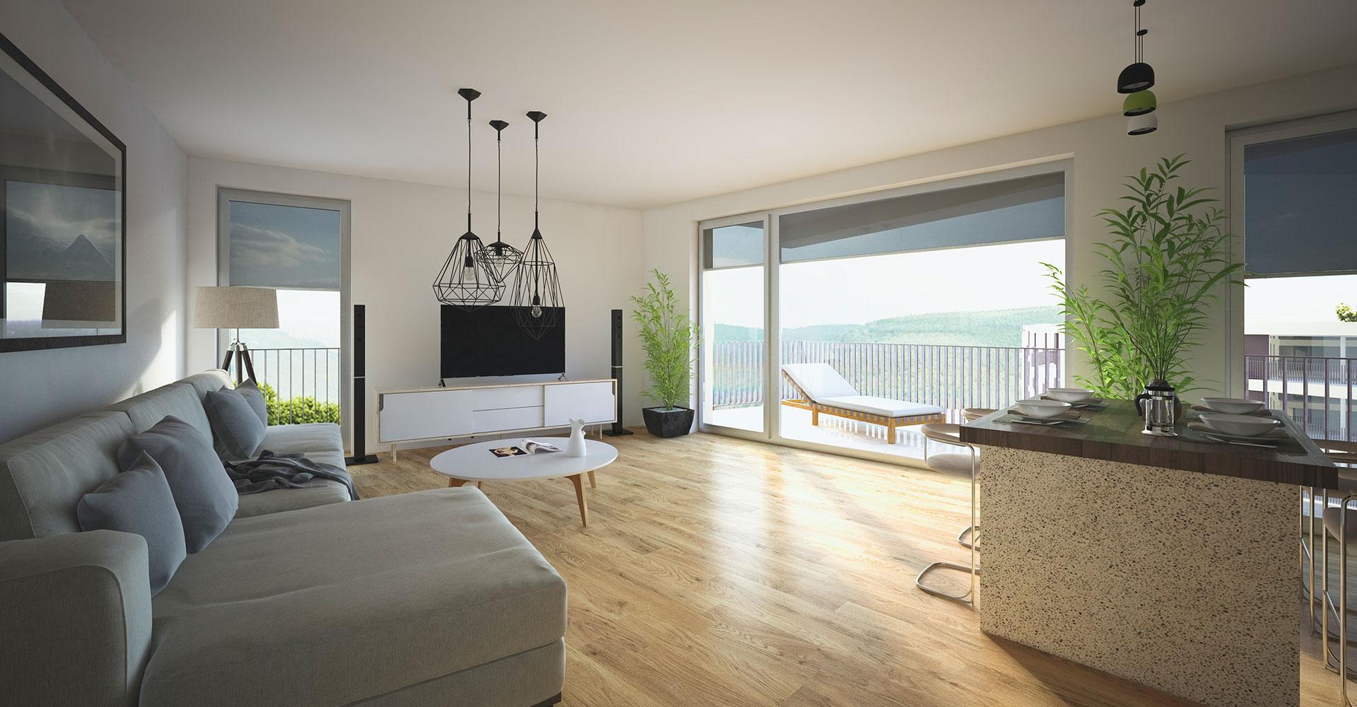 OPUS Marketing / Projekte / Panorama³ / Visualisierungen / Wohnzimmer / Tagsüber