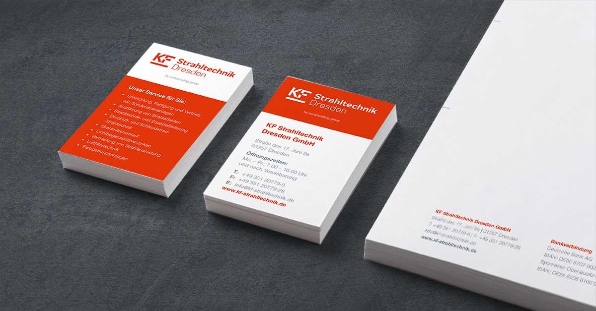 OPUS Marketing / Blog / KF Strahltechnik Dresden / Geschäftsausstattung / Visitenkarten