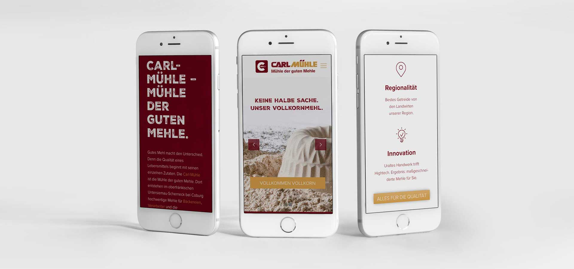 OPUS Marketing / Projekt / Carl Mühle / responsive Website / mobile Smartphone