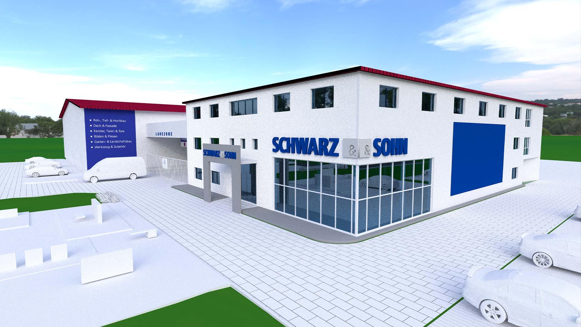 OPUS Marketing / Projekte / Schwarz und Sohn / Außenfassade / Rendering