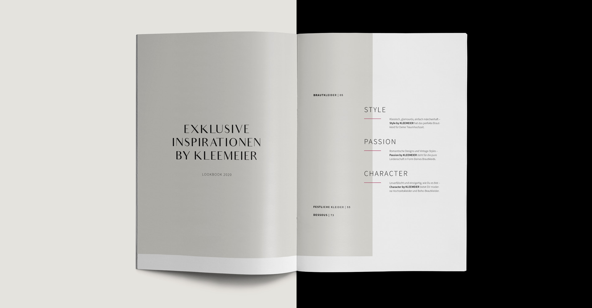 OPUS Marketing / Projekt / KLEEMEIER / Lookbook / Inhaltsverzeichnis