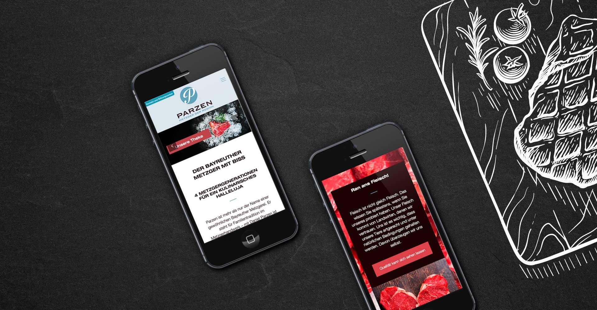 OPUS Marketing / Projekte / Metzgerei Parzen / Website / responsive mobile