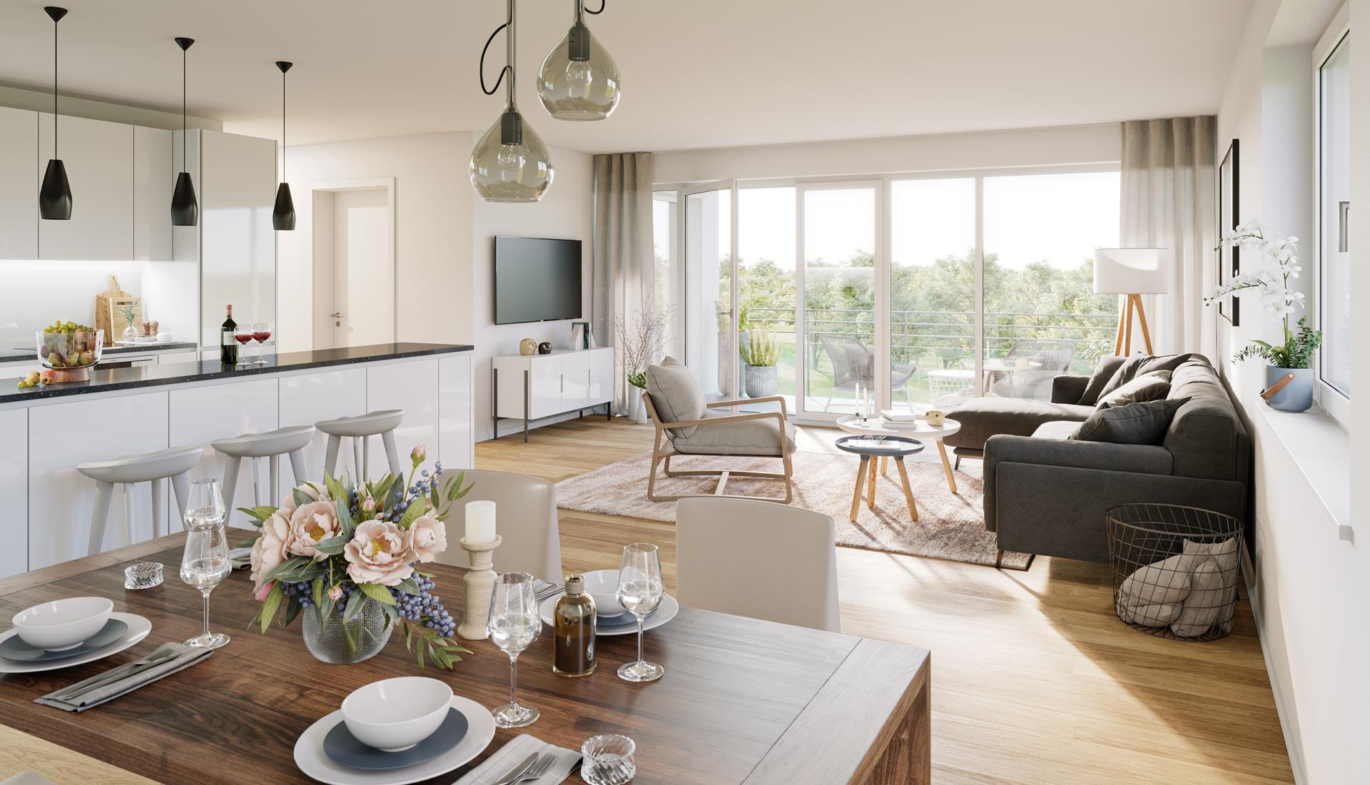 OPUS Marketing / Projekte / Atrio310 Wohnzimmer Rendering